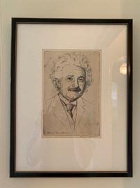 Albert Einstein signed etching by Lionel Reiss