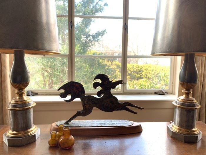 Bronze Stallion, Antique Silver and Gold Lamps