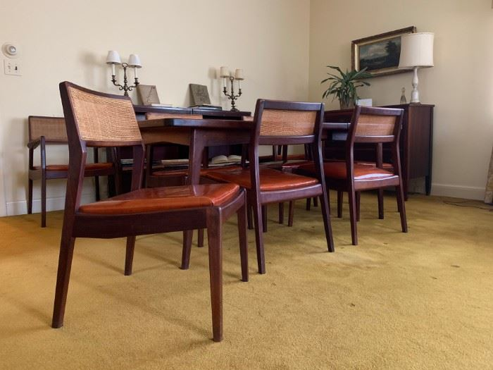 """Jens Risom Teak Dining Set with EIGHT """"Playboy"""" Chairs"""
