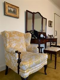 Toile Wingback Armchair, Vanity with Stool