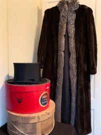 Mink Full Length Fur Coat, Brooks Brothers Top Hat