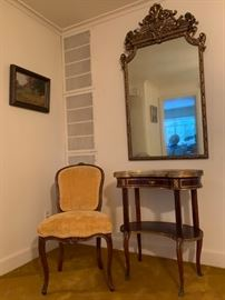 Marble Top Vanity with Brass Rail, Gilt Mirror
