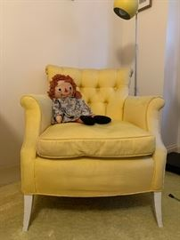 Vintage Raggedy Ann Doll, Yellow Armchair with Tufted Back