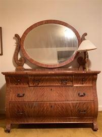 Tiger Maple Dresser with Mirror