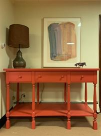"""Three Drawer Console Table in Coral (isn't this the """"color of the year""""?!"""