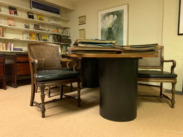 Double Pedestal Conference Table, Wicker Back Executive Chairs