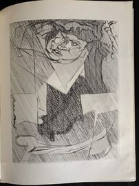 Jaques Villon Etching, With Book