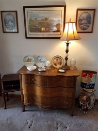Oak chest, Royal Bayreuth portrait plate, hand painted Southview Church plates. 1 of a pair.of 1960's lamps, Spiro Agnew waste can. Decorative elephant stand.