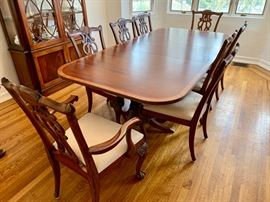 """1. Ethan Allen Dining Table (74"""" x 47"""" x 30"""") w/ pads and 2-22"""" leaves Chippendale Style Dining Chairs 2 Arm Chairs (25"""" x 22"""" x 40"""") 6 Side Chairs (25"""" x 22"""" x 40"""")"""