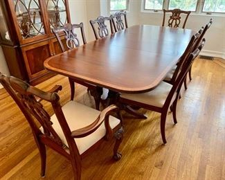 "1. Ethan Allen Dining Table (74"" x 47"" x 30"") w/ pads and 2-22"" leaves Chippendale Style Dining Chairs 2 Arm Chairs (25"" x 22"" x 40"") 6 Side Chairs (25"" x 22"" x 40"")"