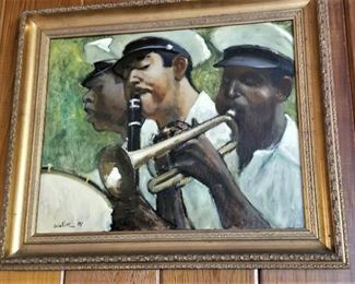 Olympia Brass Marching Band scene by New Orleans artist Dell Weller, dated 1981