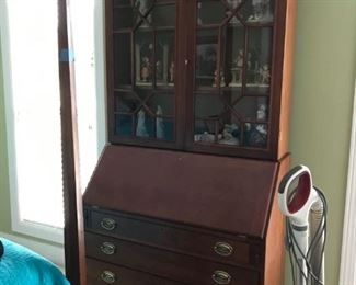 #15vintage sectary w glass doors and 4 drawers 38x19-33x81 2 pieces  $375.00