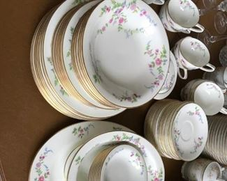 #61Imperial china (8) 6 piece place setting w/ sugar&cream plater, bowl gray  $75.00