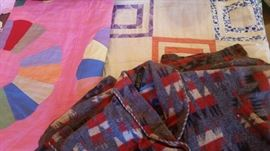 Quilt tops - square pattern is feed sack material / child's southwest pattern bathrobe from Beacon.