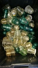 Insulators - approx 70 or 80 - all but a couple are in good shape.  Various manufacturers.  Clear, green, aqua
