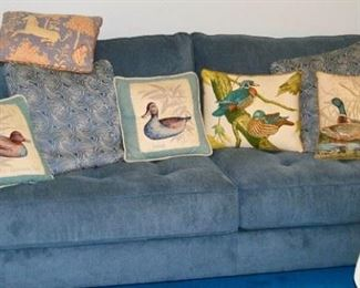 Couch blue fabric