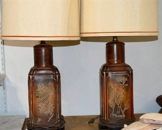 Lamps pair Rosewood carved