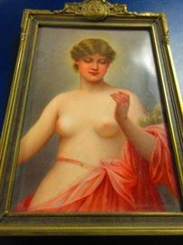 Late 19th early 20th century porcelain plaque of Klothe, goddess of sewing