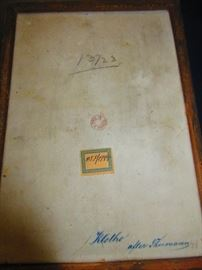 Verso of late 19th early 20th c porcelain plaque of Klothe
