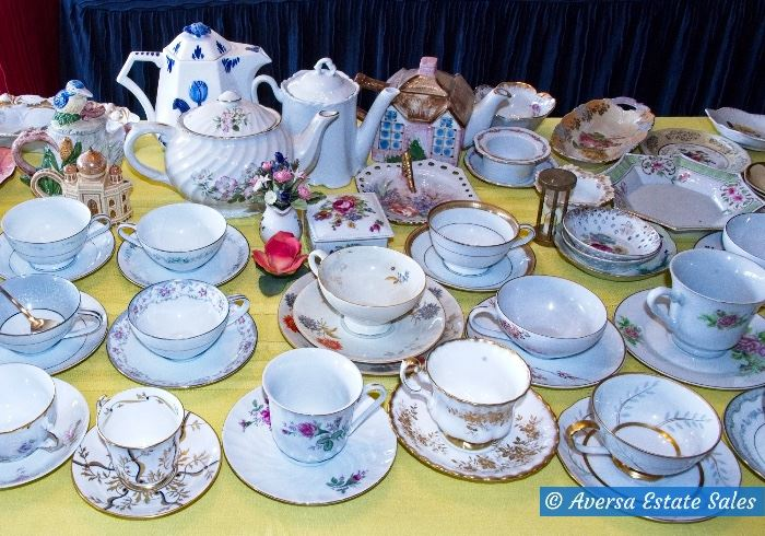 Tables of Porcelain Collectibles - Teacups - Hand painted Plates