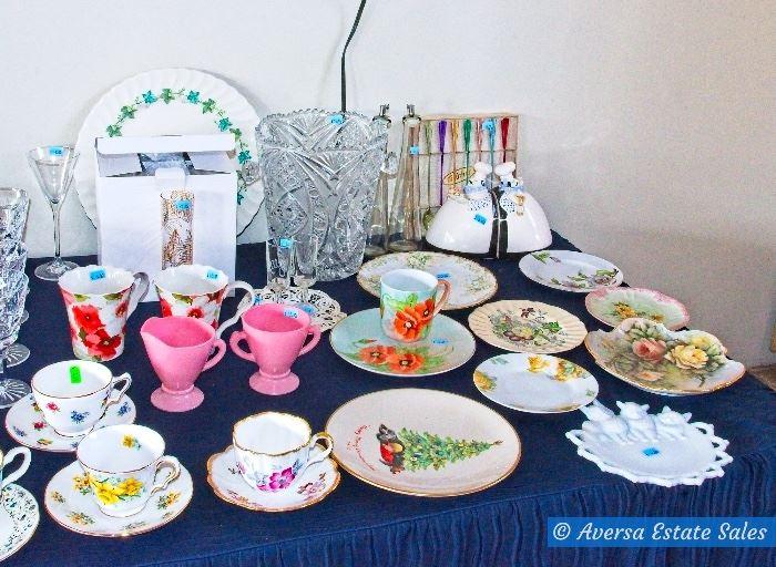 Tables of Vintage Glassware - Crystal - Ceramics
