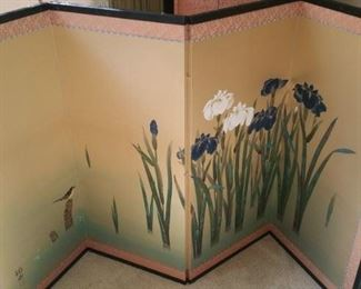 4 section painted silk folding screen about 3' tall