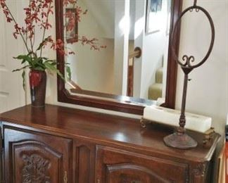 very nice Davis Cabinet Co. chest and mirror