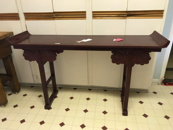 #6 sofa table w curved up ends 5'x16x33 $200