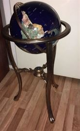 Globe on stand with compass lapis stone