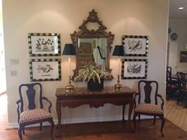 Gorgeous Gilded Mirror, Set of Bird Prints, Lamps & Console