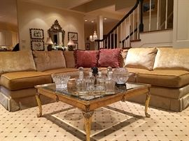 Gorgeous Curved Sectional Sofa - Immaculate Condition and Square Brass & Glass Coffee Table