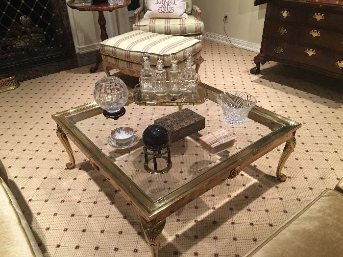 Stunning LeBarge Brass and Glass Coffee Table