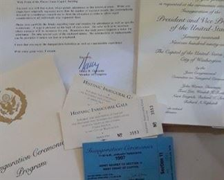 Inaugural tickets, invitation, and program from Presidential Inauguration