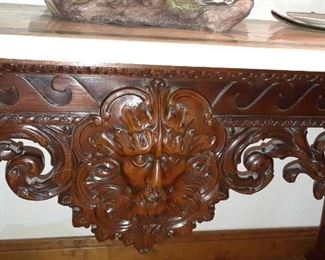 Detail of the carving on the entry table