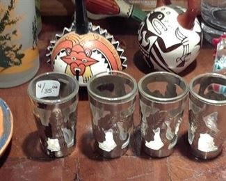 Mexico silver overlay shot glasses