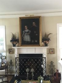 "Antique ""Ancestor Portrait"" - Oil on canvas, Traditional Mantel, Screen & Andirons"