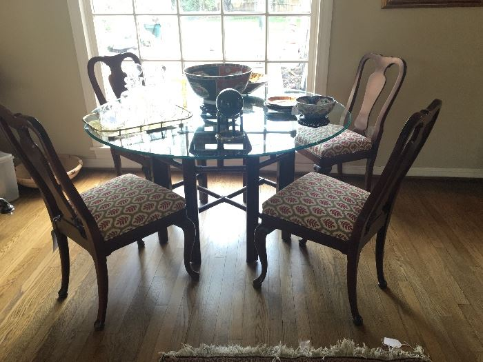 Round Glass Top Dining Table with Faux Bamboo Base