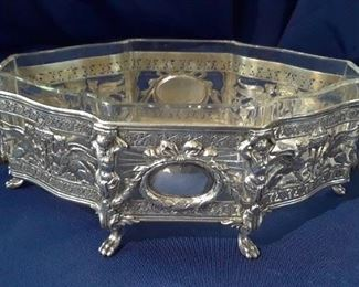 German centerpiece bowl of .930 sterling with glass liner circa turn of the century