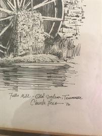 #3Chuck Long Falls Mills pin and ink 1976 $40.00