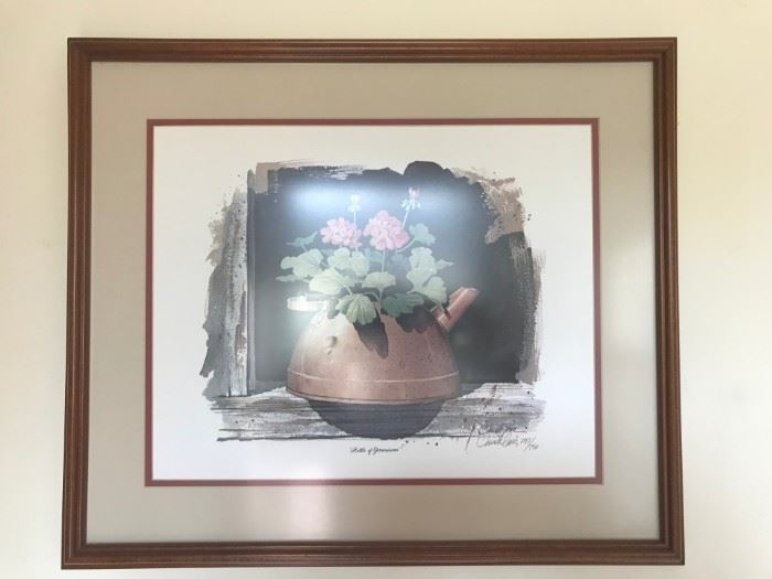 #4	Chuck Long print of kettle of Geraniums  297/750	 $40.00