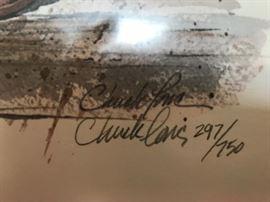 #4Chuck Long print of kettle of Geraniums  297/750 $40.00