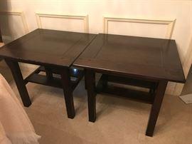 #7(2) dark wood end tables w shelf 21x23x21 $65 ea. $130.00