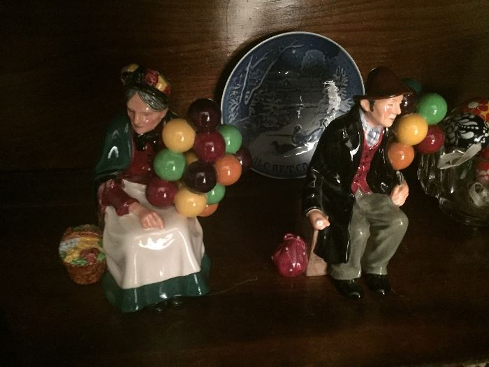 Royal dalton balloon lady and man $450 for the sset