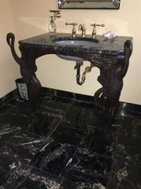 Kohler Ucello sink base and marble top in Bronze