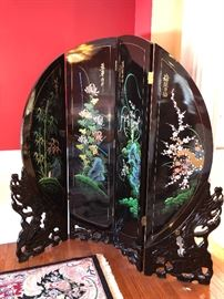 Black lacquer 4 panel room divider screen