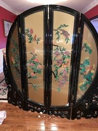 Black lacquer wooden hand painted 4 panel screen, 2 sided with jade