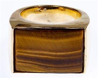 14k Gold and Tiger Eye Ring
