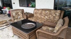 Fire pit and patio furniture