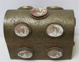 ANTIQUE CAMEO INLAID CASKET PERFUME BOX