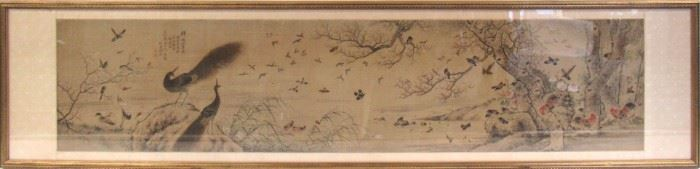 A Chinese Bird and Flower Painting Dated